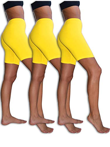 Sexy Basics Womens 3 Pack Sheer & Sexy Cotton Spandex Boyshort Yoga Bike Shorts (2XL, 3 Pack- NEON ()