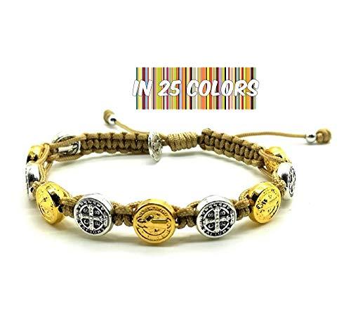 Adjustable Mens Womens St Benedict Bracelet, Saint Medals in Gold/Silver  Tone by MedjugorjeStoneGifts