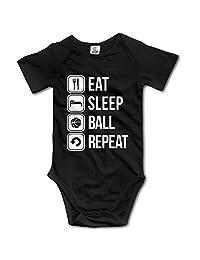 YEARla Unisex Eat Sleep Basketball Repeat Baby Rompers Baby Onesie Short Slev