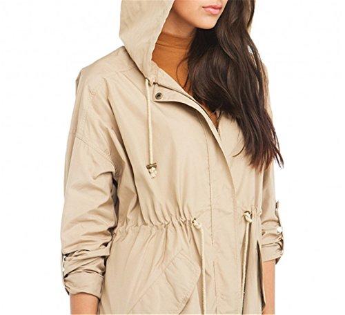 Reedbler Women Coat Autumn Solid Beige Hooded Long Sleeve Zipper Slim Outwear Loose Streetwear Trench Coat ()