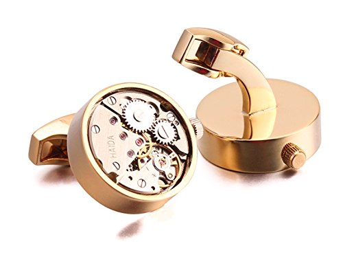 Faced Cuff (Apex Skeleton Watch Mens Cufflinks | Features Gears, Levers, and Jewels to Provide the Apperance of an Open Faced Mechanial Watch | Available in Silver and Rose-Gold | Luxury Feel, Affordable Price)