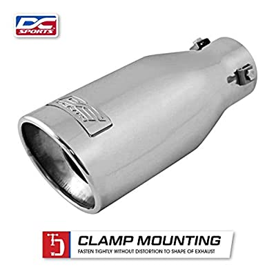 DC Sports EX-1012 Performance Bolt-On Resonated Exhaust Tip with Clamps and Adapters for Universal Fitment on Most Cars, Sedans, and Trucks - Polished Stainless Steel: Automotive