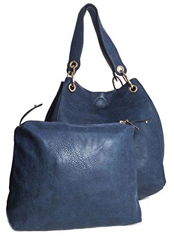 BHBS Bolso Grande para Dama Dos en Uno tipo Tote para Hombro 38x34x22 cm (LxAxP) - azul marino