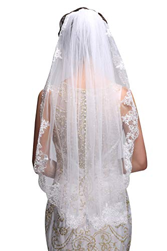 GEORGE BRIDE Simple Elegent Lace Appliques Wedding Veil One Size With Comb White -
