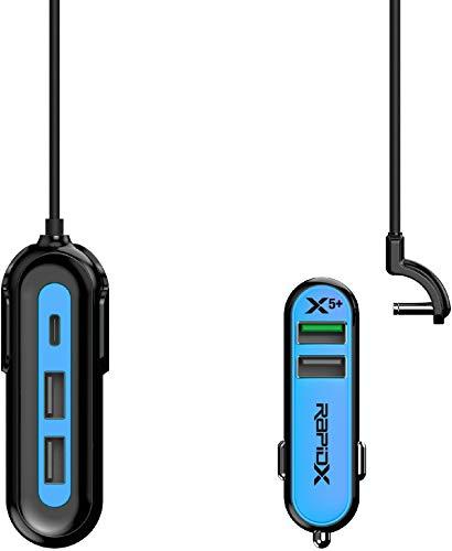 RapidX X5 Plus 5 Port USB Car Charger with Detachable Cable Blue & Black