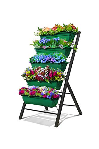 4-Ft Raised Garden Bed – Vertical Garden Freestanding Elevated Planters 5 Container Boxes – Good for Patio Balcony Indoor Outdoor – Cascading Water Drainage to Grow Vegetables Herbs Flowers 1-Pack
