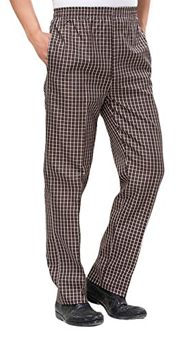 ONCEFIRST Men's Chef Pants Print Design Cargo Style Chef Pant Khaki Checkered Small