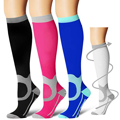 Laite Hebe Compression Socks,(3 Pairs) Compression Sock Women & Men - Best Running, Athletic Sports, Crossfit, Flight Travel(Multti-colors14-S/M) ()