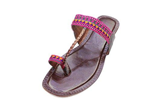 Wear & Walk UK W&W Women Ladies Casual Flat Sandal Indian Handmade Embroidered Kolapuri UK Size Brown (K901) Brown wtXN5OW9