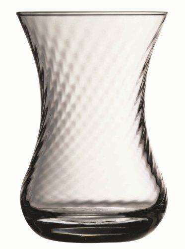(Turkish Tea Glass Set Large Size (Whirling Design) - Optikli)