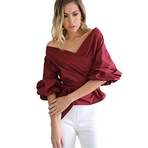 V Moda Zarupeng benda Top spalline donne vita Camicia scollo Rosso senza Maglie popolare a camicetta eleganti qHRwHYt