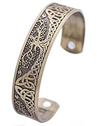 VASSAGO Pagan Yggdrasil Tree of Life Norse Mythology Magnetic Health Cuff Bracelet Men Women Jewelry