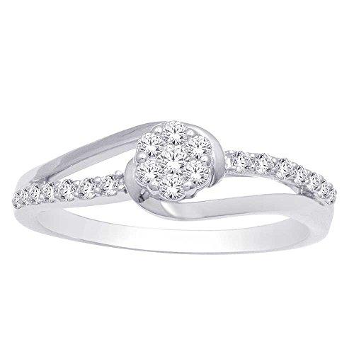 - Saris and Things 10K White Gold 0.27 Ct.tw. Diamond Flower Ring