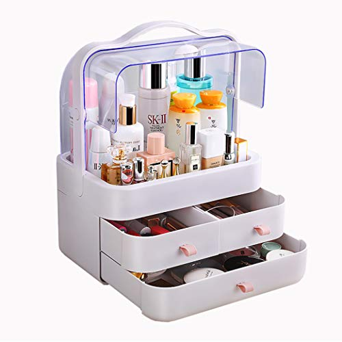 FAZHEN dust-Proof Makeup Organizer, Cosmetic and Jewelry Storage with Dustproof Lid, Display Boxes with Drawers for Vanity, Skin Care Products Rack Dressing Table Desktop Finishing Box (L)