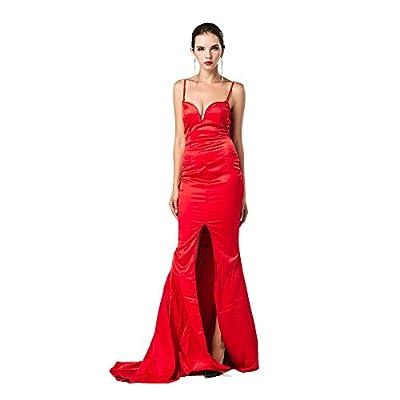 Missord Women's Bra Backless Halter Prom Maxi Dress with Slit