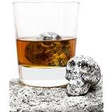 Hand-carved Set of 2 Beverage Chilling Granite Skull Whiskey Stones (Chilling Rocks) - in Gift Box by Whiskey Bones