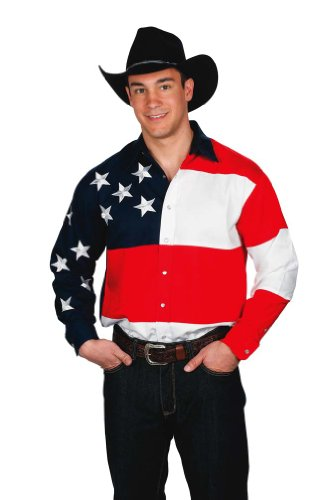 Mens 100% Cotton Stars & Stripes USA Flag Western Shirt