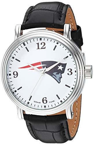 Gametime Men's Stainless Steel Analog-Quartz Watch with Leather-Synthetic Strap, Black, 20 (Model: GT000193)