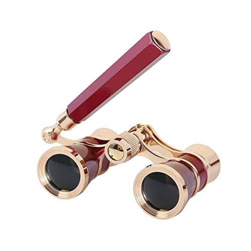 Aroncent Opera Glasses Binoculars 3X25 Theater Glasses Mini Binocular Compact with Handle for Adults Kids Women in Musical Concert (Red)