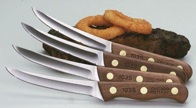 Chicago Cutlery Wood Handle Steak Knife Set Walnut Tradition 4'' Wood Clampacked