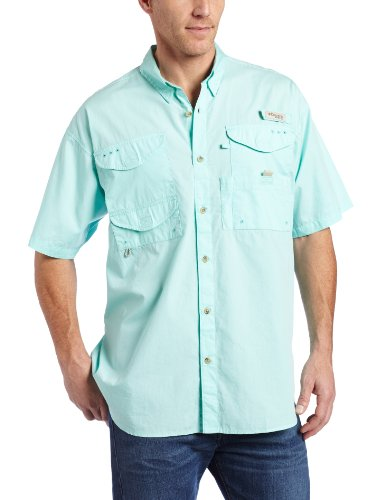 Cotton Short Sleeve Fishing Shirt (Columbia Men's Bonehead Short Sleeve Fishing Shirt (Gulf Stream, X-Large))