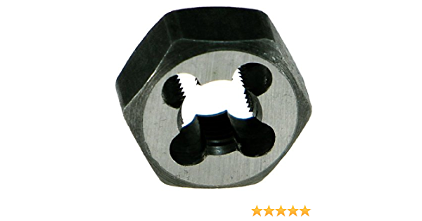 M12 x 1.25 Uncoated Bright 1-1//16 Width Finish Drillco 3360E Series Carbon Steel Hexagon Rethreading Die