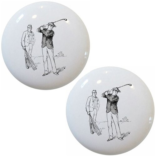Set of 2 Vintage Golf Golfing Ceramic Cabinet Drawer Knobs -