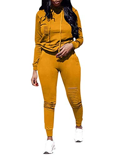 Ophestin Women Casual Long Sleeve Hoodies Ripped Top Skinny Long Pants Set Tracksuits 2 Piece Jumpsuits Outfits Yellow XL
