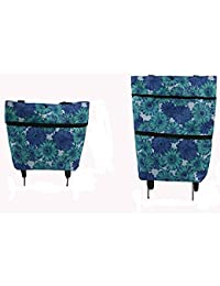 Foldable Shopping Trolley Bag with Wheels Oxford Fabric Collapsible Bags Folding Reusable Grocery Tote Bags Shopping Grocery Cart for Women Travel Home Kitchen Supermarket Blue Flower