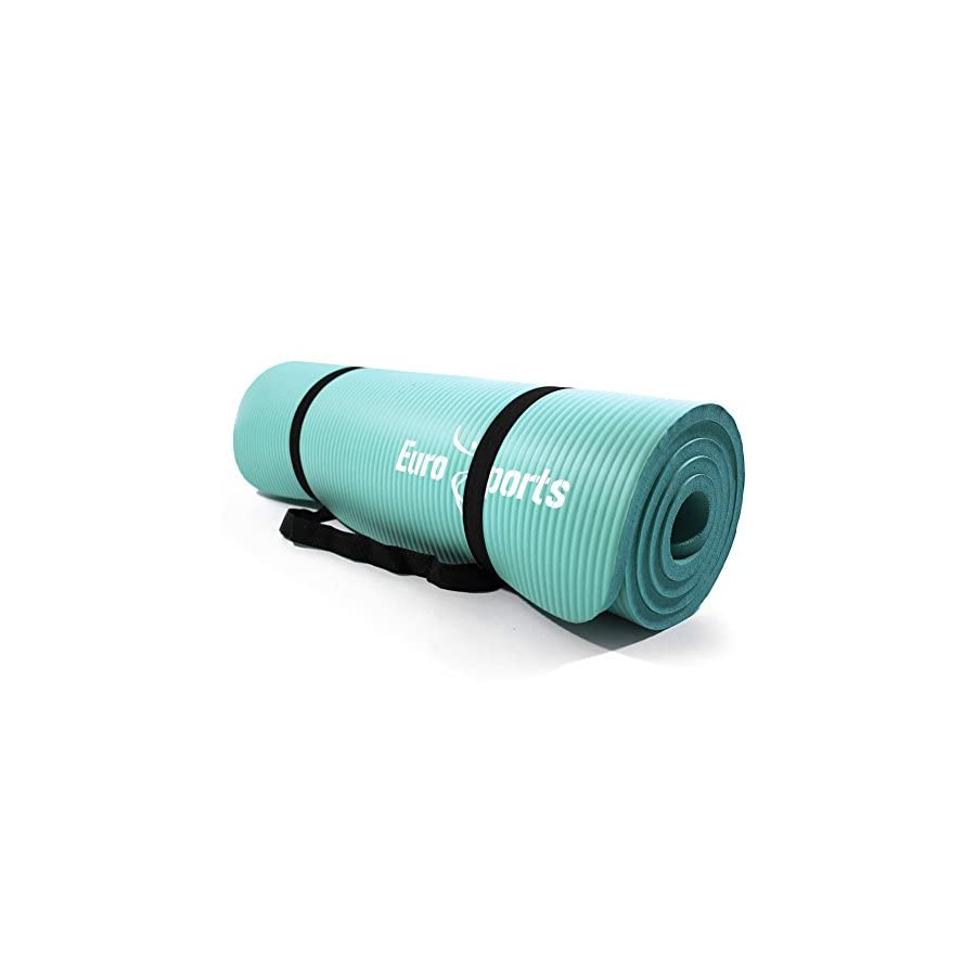 Eurosports 1/2 Inch Extra Thick 72 Inch Long NBR Eco Friendly Non Slip Yoga Mat With a Carrying Strap for Yoga, Pilates and Exercise, Build Your Body Confidence in 2018