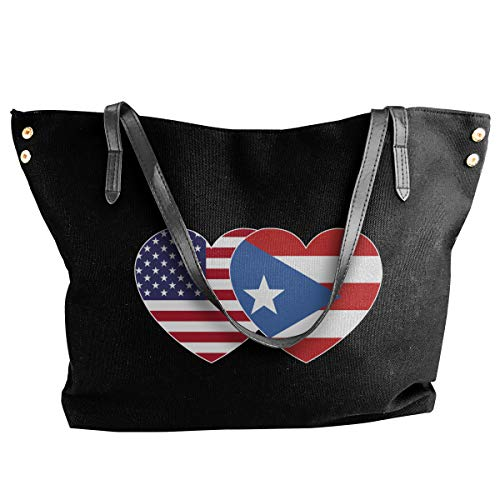PUERTO RICO USA Flag Twin Heart Canvas Shoulder Bag Casual Handbag For Women Black