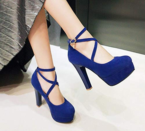 LIANGXIE Damenfrauen rutschen auf Round Toe Toe Toe Stiletto High Heel Ankle Strap Plattform Pump Party Dress High Heel 3730b4