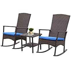 Garden and Outdoor Outdoor PE Wicker Rocking Chair 3-Piece Patio Rattan Bistro Set 2 Rocker Armchair and Glass Coffee Side Table Furniture… outdoor lounge furniture