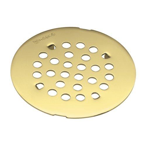Moen 101663PMOENF Kingsley 4-1/4-Inch Snap-In Shower Drain Cover, Polished Brass by (Moen Snap)