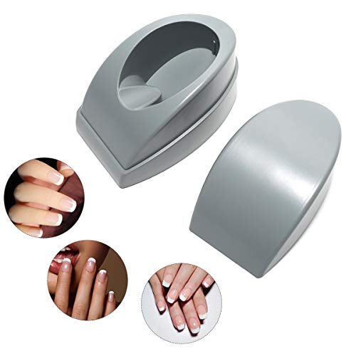 MEFA Dipping Powder Container Tray French Nail Dip Container Manicure Molding with Finger Guide Smile Line Nail Dip Tool Color Grey for Dip Powder Starter