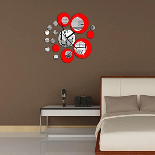 DIY Creative Wall Clock,Efaster Modern Circles Acrylic Mirror Style Wall Clock Removable Decal Art Sticker (Red)