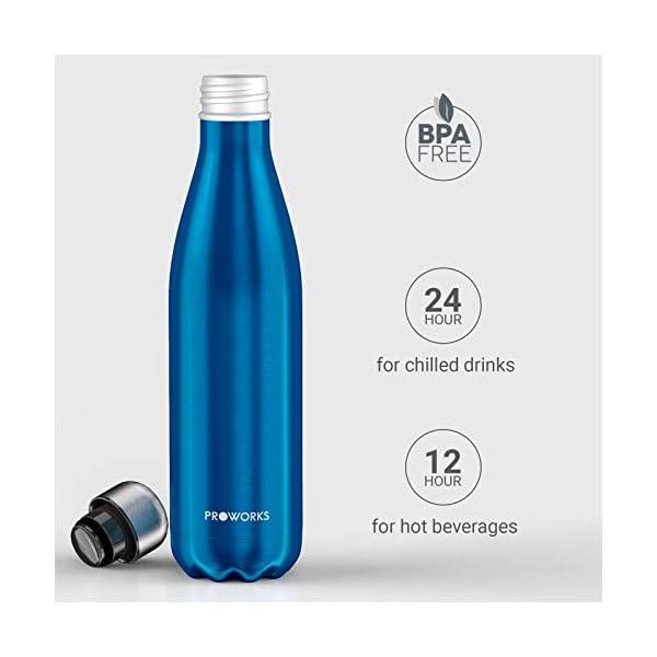 Proworks Bottiglia Acqua in Acciaio Inox, Senza BPA Vuoto Isolato Borraccia Termica in Metallo per Bevande Calde per 12 Ore & Fredde 24 Ore, Borraccia Sport, Lavoro e Palestra - 350ml/500ml/750ml/1L 3 spesavip