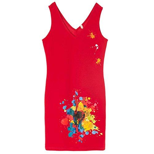Miss Wear Line - Robe d'été rouge avec motif tache de peinture