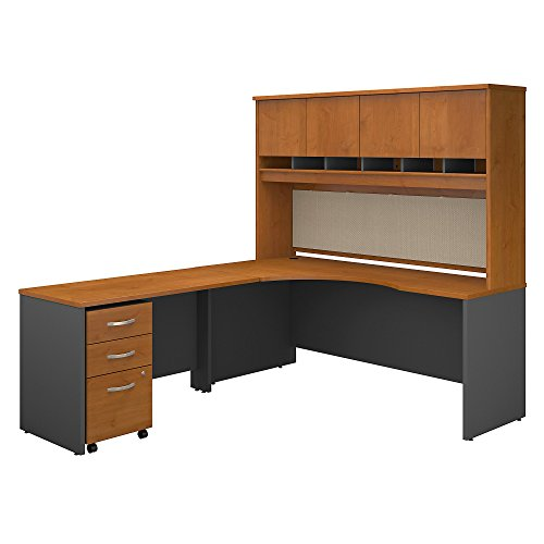 Bush Business Furniture Series C 72W Left Handed Corner Desk with Hutch and Mobile File Cabinet in Natural Cherry