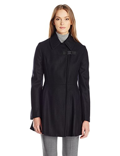 Calvin Klein Women's Asymmetrical Withzip Closure and Zipper Pocket Wool and Waist Detail, Black, M