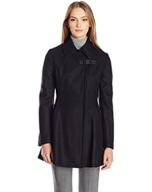 Calvin Klein Women's Asymmetrical Withzip Closure and Zipper Pocket Wool and Waist Detail