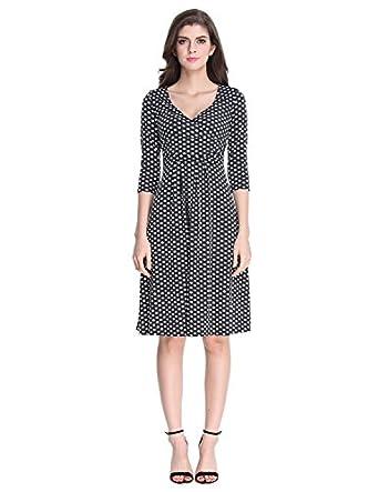 Sue&Joe Women's 3/4 Sleeve Dress Wrap V Neck Ruched Pleated Polka ...