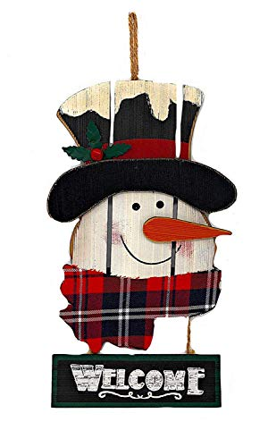 STC World Snowman Welcome Wooden Sign Christmas Holiday Decoration for Front Door Wreath Wall Kitchen Fireplace Indoor Outdoor (Snowman Welcome) ()