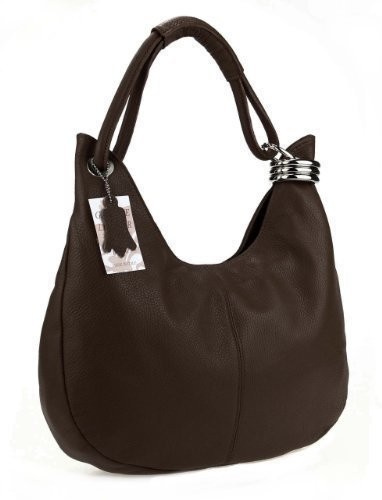 OBC Borsa da Donna in Vera Pelle - Made in Italy - 42x26x10 cm - 42x26x10 cm, Blu Marrone (Marrone scuro)
