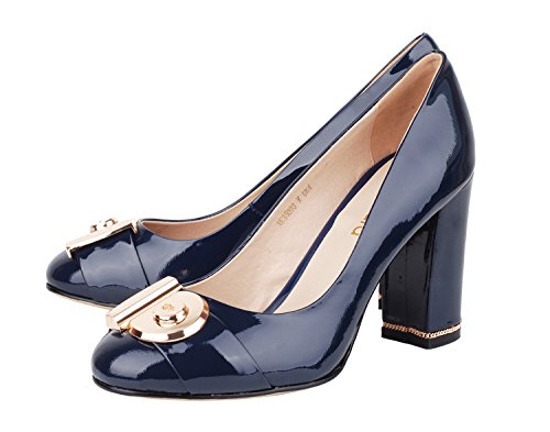 Heel Decoration Dress Patent Women's navy Ornament Chunky Shoes Leather Official Verocara Pumps B Occasion Genuine 4qEpxARxw