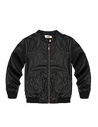 Encontrar Boys Faux Leather Jacket Trendy Stand Collar Coat 3T-14