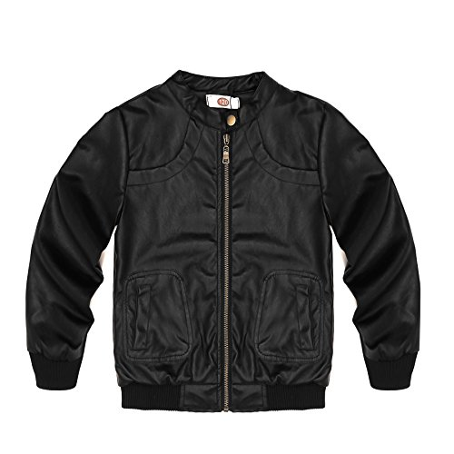 Encontrar Boys Faux Leather Jacket Trendy Stand Collar Coat Black 9 10
