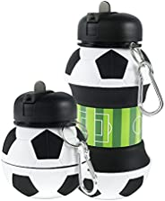 Kids Sports Water Bottle Portable Travel Bottle Collapsible Ball Shaped Reusable Drinking Cup Leak Proof Socce