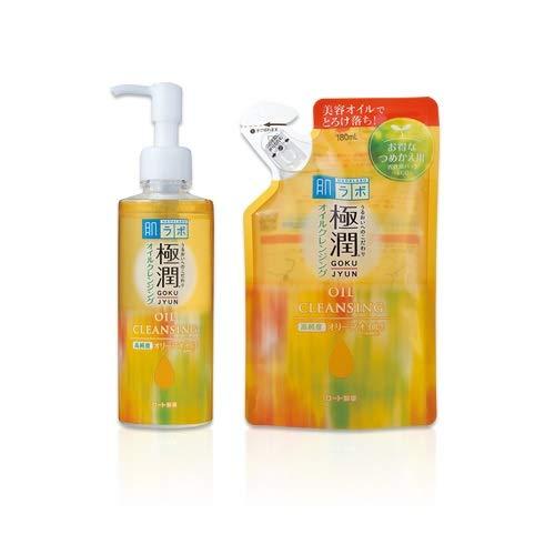 Rohto Hadalabo Gokujyun Oil Cleansing 200ml bottle + 180ml Refill Pouch Set Japan Import