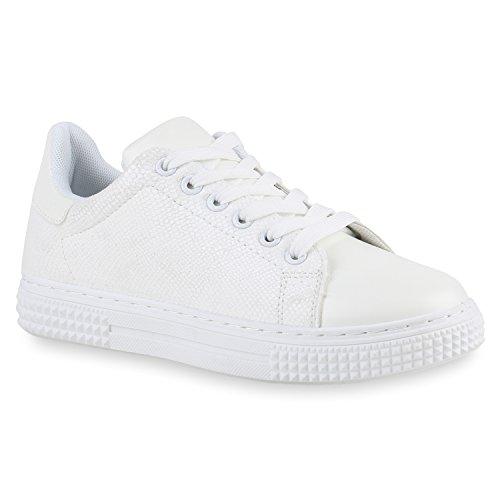 Flandell Damen Unisex Weiß Übergrößen Stiefelparadies Sneaker Herren Low 6vnxO